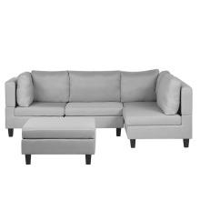 4 Seater Modular Fabric Corner Sofa with Ottoman Light Grey FEVIK
