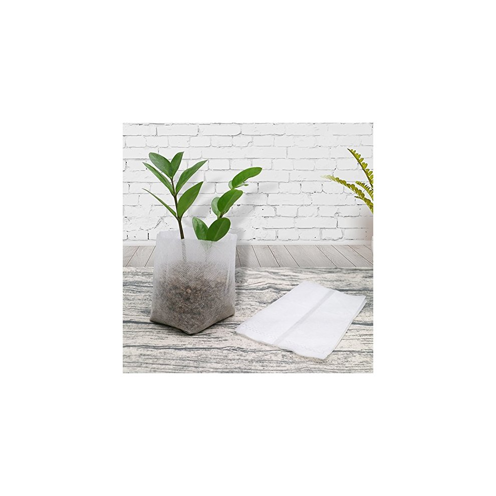 KINGLAKE 200 Pcs Biodegradable Non-woven Plant Seedling Bags Fabric Grow Bags 14
