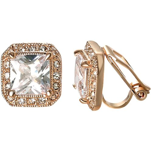 Yoursfs Square Diamante Clip On Earrings For Women Large Cubic Zirconia 18ct Rose Gold Plated Bride Wedding Earrings