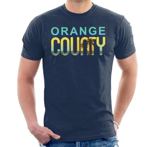 (X-Large, Navy Blue) Orange County Sunset Silhouette Men's T-Shirt
