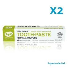 2 X Green People Organic Fennel & Propolis 100% Natural Toothpaste - 50ml