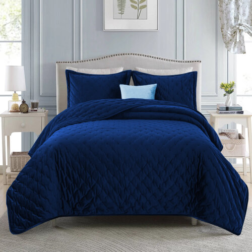 (Blue, King) 3pc Imperial Rooms Velvet Bedspread Set