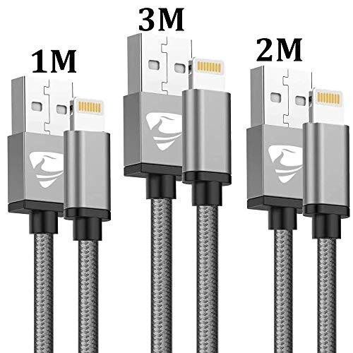 iPhone Charger Cable MFi Certified Lightning Cable Aioneus 3Pack/1M 2M 3M iPhone Cable Nylon Braided Fast Charging Cable Long Charger Lead for iPhon