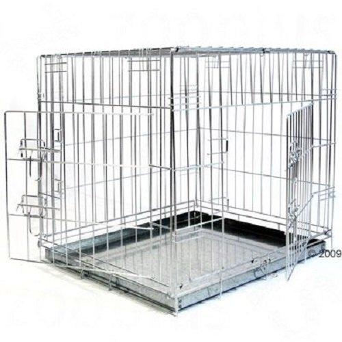 (Size L: 89 x 60 x 66 cm (L x W x H)) Double Door Dog Crate Cage Transport Foldable