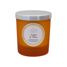 Shearer Candles Amber and Rose Scented Jar Candle with Silver Lid - Yellow
