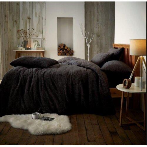 (King, Black) Teddy fleece luxury duvet cover bed set