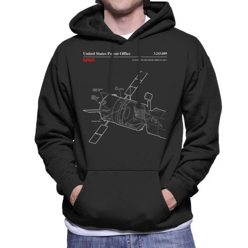 (Small, Black) NASA ISS Automated Transfer Vehicle Blueprint Men's Hooded Sweatshirt