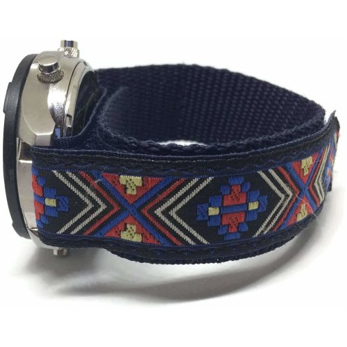 Velcro Watch Strap Velcro Leather Sport Dark Blue 20mm with Pattern