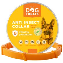 Natural Dog Treats Flea and Tick Collar for Dogs & Cats, Adjustable Waterproof, 8 Months Effective Protection