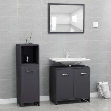 vidaXL Bathroom Furniture Set 3 Piece Grey Chipboard Storage Unit Furniture