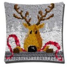 """Latch Hook Complete Cushion Cover Kit""""Reindeer Head"""" 43x43cm"""