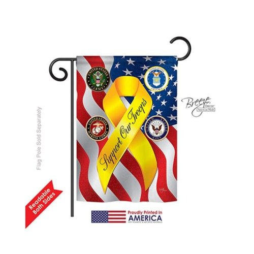 Breeze Decor 58060 Military Support Our Troops Freedom 2-Sided Impression Garden Flag - 13 x 18.5 in.