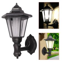 Black Outdoor Solar Powered Wall Lantern LED Lights Garden Waterproof Lamp