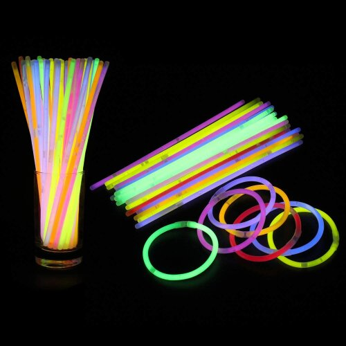 """15 Glow Sticks 8"""" and Connectors Birthday Party Bracelet Necklace Neon"""
