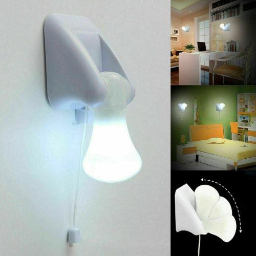 LED Wall Night Light Bulb Cordless Battery Portable Handy Pull String Lamp