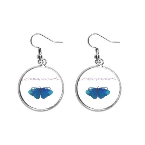 Blue Butterfly Collection Ear Dangle Silver Drop Earring Jewelry Woman