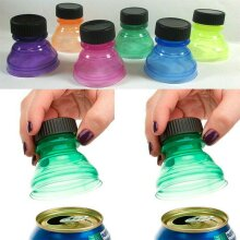 6 x Reusable Soda Can Savers Pop Drink Covers Lid Protector Spill Free Bottle