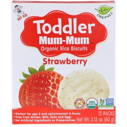 Hot Kid, Toddler Mum-Mum, Organic Rice Biscuits, Strawberry, 60g