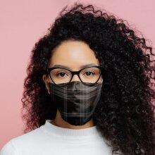 Black & Grey Tartan Reusable Face Covering - Large X 1 Pack
