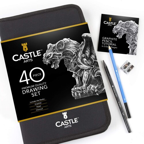 40 Piece Castle Arts Drawing & Sketching Pencil Art Set in Carry Case