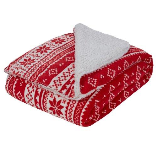 (Red White Nordic Snowflake, Large - 150 x 180cm) Dreamscene Sherpa Flannel Fleece Throw Soft Fur Blanket Nordic Print, Grey Red