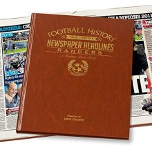 Signature gifts Personalised Rangers FC Newspaper Book - Brown Leatherette