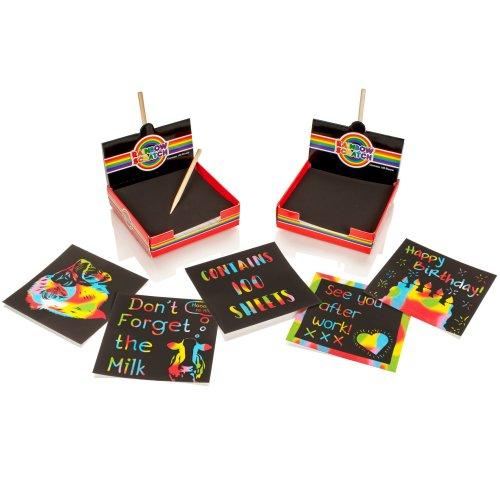 Rainbow Scratch Magic Memo Notes Cube - 2 Pack
