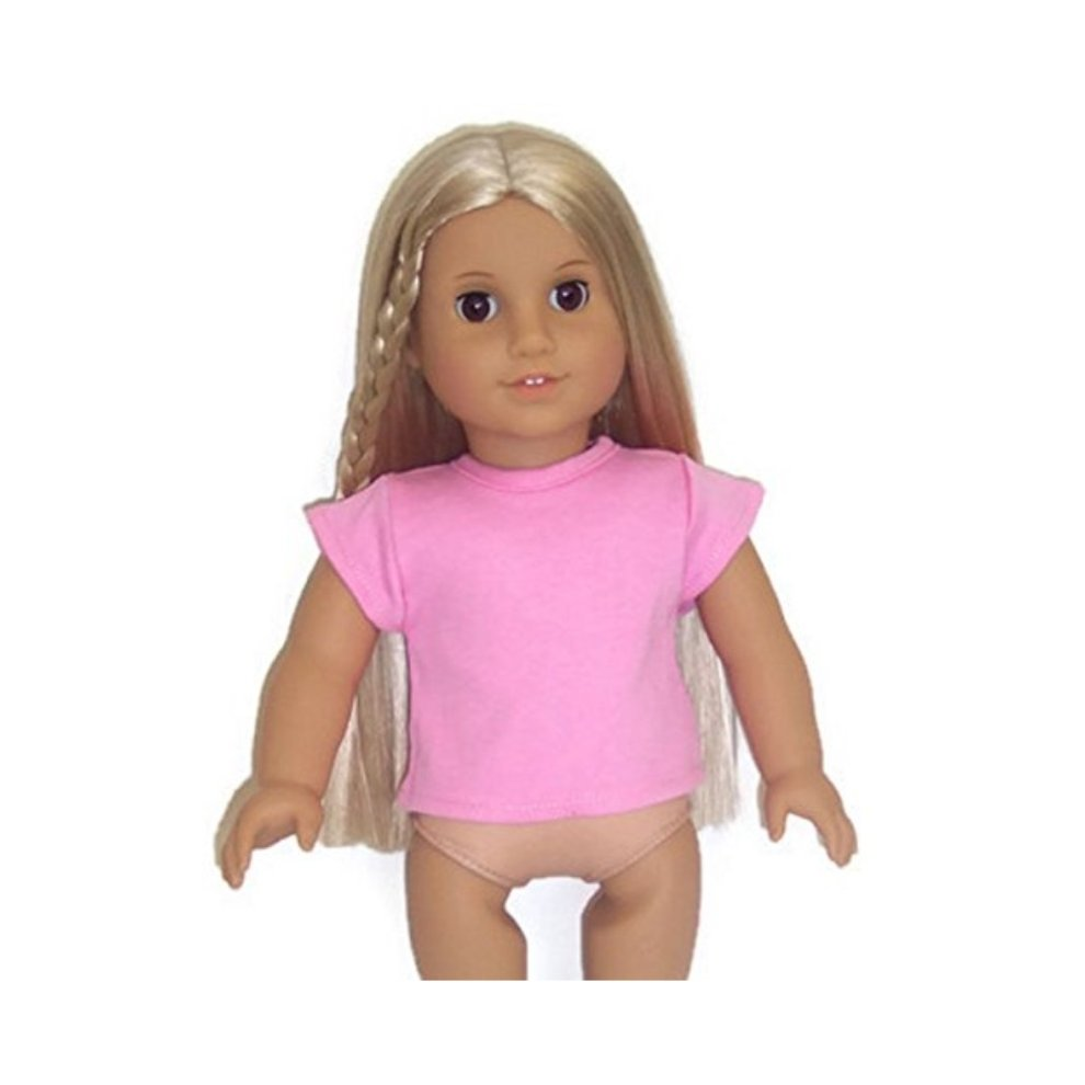 Pink Knit Shirt Top with Flowers made for 18 inch American Girl Doll Clothes
