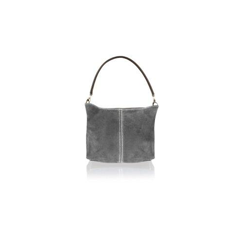"Woodland Leather Dark Grey Suede 12"" Single Handle Hobo Bag"