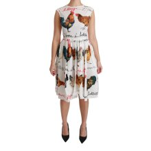 White Rooster A-Line Mini Cotton Dress