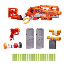 Nerf Scravenger Zombie Strike Toy Blaster with Two 12 Dart Clips, 26 Darts, Light, Barrel Extension, Scope, Stock, 2 Dart Blaster For Kids, Teens,...