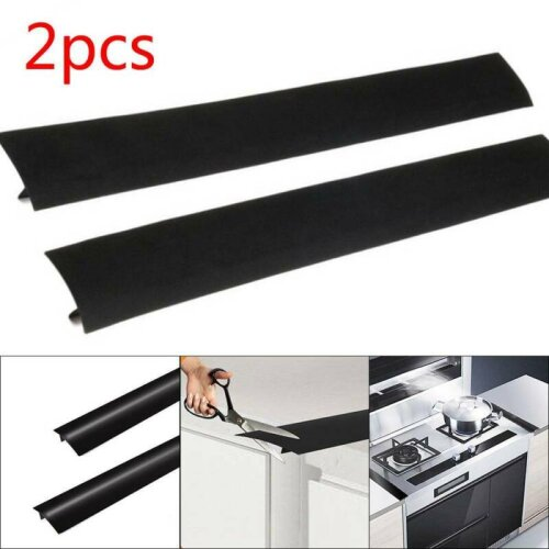 2Pcs Silicone Kitchen Stove Counter Gap Cover Oven Guard Spill Seal Filler Black
