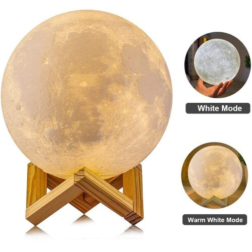 (2 Color Touch, 10 cm) Personalised Moon Lamp with Text & Customised Moon Photo 3D Gift