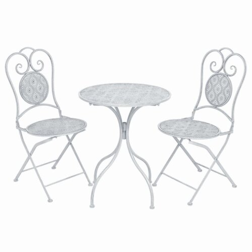 vidaXL 3 Piece Bistro Set Steel Greyish White Garden Patio Table Folding Chair
