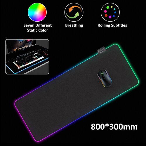 Large RGB Colorful LED Lighting Gaming Mouse Pad Mat 80 X 30CM