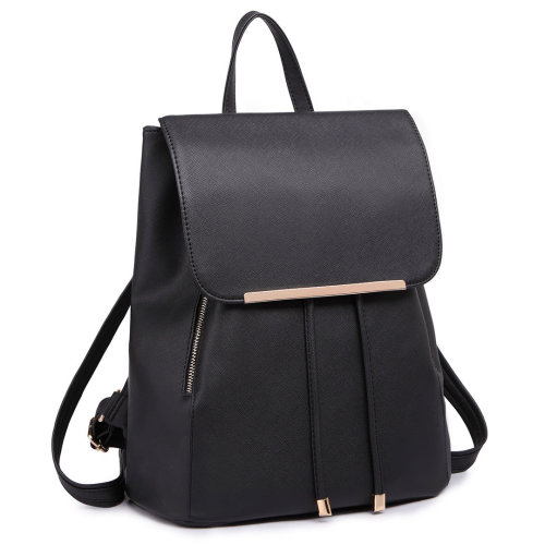 Miss Lulu Women's Black Faux Leather Backpack | PU Leather Backpack