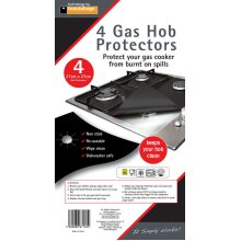 GAS HOB PROTECTORS BLACK 4 PACK 27X27CM APPROX NON STICK, EASY CLEAN & REUSABLE