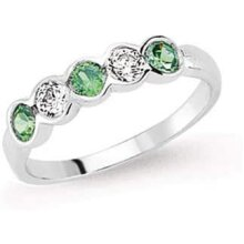 Emerald Ring Sterling Silver Emerald Eternity Ring Platinum Plated