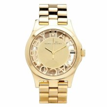 Marc Jacobs Henry Skeleton Ladies Watch¦Champagne Dial¦Stainless Strap¦MBM3206