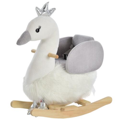 HOMCOM Cute Kids Ride-On Rocking Swan w/ Sound Handlebars Seat Belt Plush Body