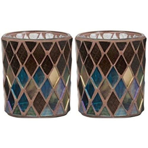 Yankee Candle Set of Two Autumn Mosaic Design Votive Holder NEW