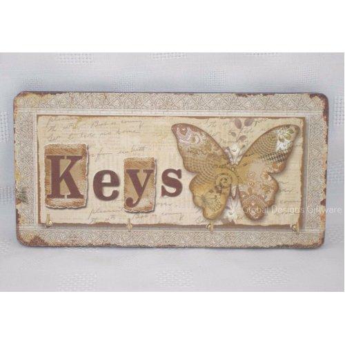 Shabby Chic Key Rack Butterfly Designs Keys Hooks ideal Kitchen Hall 19cm SG1751