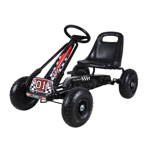 (Black) GALACTICA Kids Go Kart Ride On Car Pedal With Rubber Wheels Adjustable Seat G02