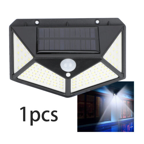 100 LED Solar Powered PIR Motion Sensor Wall Lights Outdoor Garden