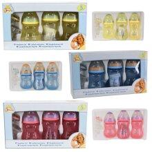 Nuby 5 PCS Feeding Set Anti Colic Silicone Teats Baby Bottles Newborn Gift Kit