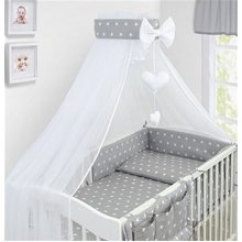 LUXURY 10Pcs BABY BEDDING SET COT PILLOW DUVET COVER BUMPER CANOPY to Fit Cot Size 120x60cm 100% COTTON (Stars Grey)