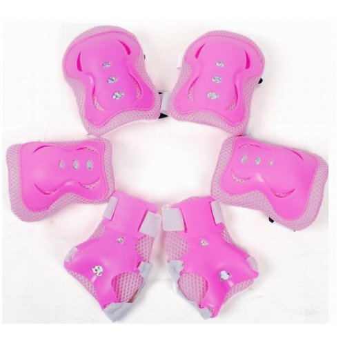 Meta-U 6Pcs/Set Children Skate Protective Gear-2 Elbow Pads+2 Wrist Pads+2 Knee Pads (Pink)