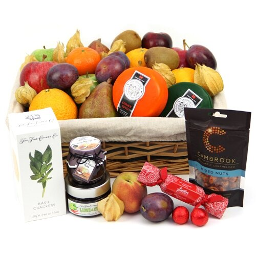 Fall Fruit and Cheese Hamper - Fruit Gift Baskets and Gift Hampers with Personal Message Attached