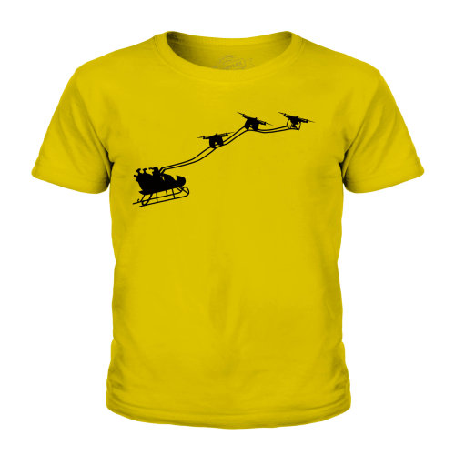 (Gold, 9-10 Years) Candymix - Drone Santa - Unisex Kid's T-Shirt