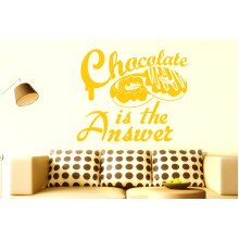 Chocolate Is The Answer Wall Stickers Art Decals - Large (Height 57cm x Width 68cm) Dark Yellow